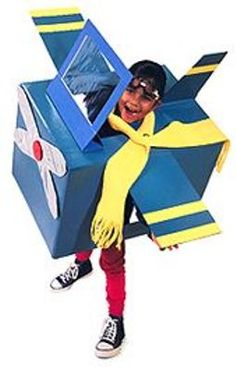 Here's a fun airplane costume that can be an easy DIY project. Transform an ordinary cardboard box into a high flying machine.