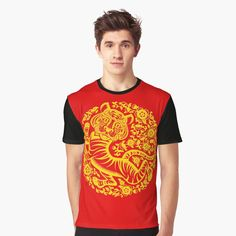 Chinese Holidays, Chinese New Year, Mid Autumn Festival, Printed, Awesome, Mens Tops, Gold, T Shirt, Art