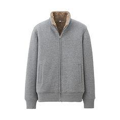 MEN Sweat Faux Shearling Full Zip Jacket