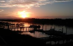 sunset tonight during dinner on the top deck at morgan creek grill at the iop marina - 3/24/12