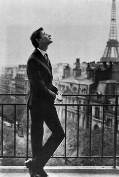 Paris.  Yves Saint Laurent and the arched tie.