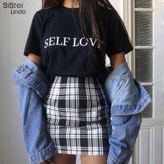 Sisterlinda Vintage Black Plaid Mini Skirt Women High Waist Mini Skirt Fashion Office Lady Party Side Zipper Skirts Mujer 2019 on AliExpress Edgy Outfits, Casual Summer Outfits, Retro Outfits, Vintage Outfits, Spring Outfits, Casual Winter, Best Outfits, Cute Grunge Outfits, Rock Outfits
