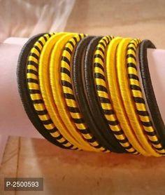 Fresh & Trending Silk Thread Bangle Set from House of Ethnicz Silk Thread Bangles Design, Silk Bangles, Thread Jewellery, Hair Puff, Silk Art, Bangle Set, Embroidery Designs, Handmade Jewelry, Jewelry Design