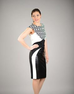 Leather Dress Black and White Dress Short Formal Dress by VessinA