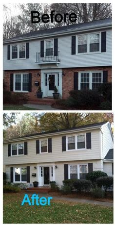 Ideas for painting a half brick half siding home pinteres for Painted brick houses before and after pictures