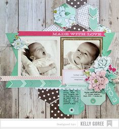 This sweet layout by Kelly Goree used products from the Polka Dot Party collection by Dear Lizzy.