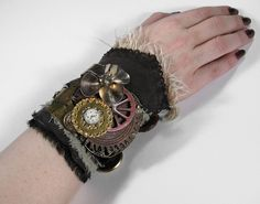 Steampunk Cuff  Industrial MULTI TEXTILE LAYERED by edmdesigns