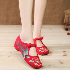 Aliexpress.com: Comprar 2015 Vintage flor impreso algodón de Wimen zapatos Bayan Ayakkabi aumento de la altura mujeres pisos Slipony 2015 zapatos Kz104 de Pisos de la Mujer fiable proveedores en Cloth Shoes Manufacturer