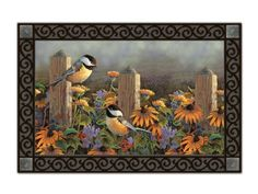 Fencepost Chickadees Indoor Outdoor Doormat by Magnet Works. $19.99. PLEASE NOTE YOU ARE PURCHASING THEDOORMAT ONLY. THE PICTURE SHOWS THEDOORMAT PLACED IN THE DESIGNER DOORMAT FRAME WHICH IS SOLD SEPARATELY IN OUR STORE.THEDOORMAT CAN BE USED WITHOUT DOORMAT FRAME. Thisdoormat will look beautiful outside your home when placed inside our Designer Doormat Frame, or to show off your mat inside your home use our Comfort Mat to enhance the look of any room. (...