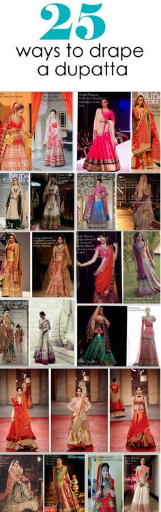 "25 Dupatta Draping Styles. Wikipedia says, ""The primary use of a dupatta is to cover the head and/or any inadvertent cleavage and the contour of the bosom. However, the use of the dupatta has undergone a metamorphosis over time. In current fashions, the dupatta is frequently draped over one shoulder and even over just the arms."""