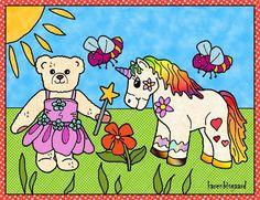 Karens Kravlenisser. Cut-outs and Colouring Pages. : Flower Fairy Bear and Unicorn Postcard to Print in Colours. Blomsteralf bamse og enhjørning postkort til at printe i farver.