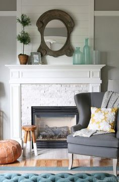 The Inspired Room Family Room Fireplace Makeover Brick Fireplace Remodel, Fireplace Redo, White Fireplace, Bedroom Fireplace, Living Room With Fireplace, Fireplace Design, Fireplace Makeovers, Fireplace Ideas, Simple Fireplace