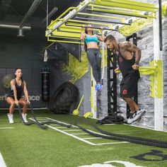 Group functional fitness and bodyweight training in Wall mount monkey bar bridge the MoveStrong Nova wall FTS