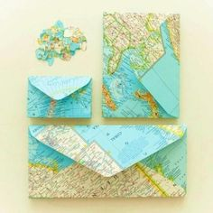 map envelopes ... upcycled paper ...