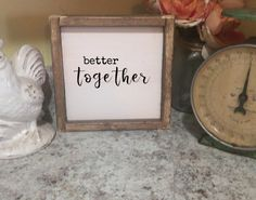 Better Together (Mini Collection) Our mini Framed Farmhouse signs measure 8.5x8.5 and are only $20!!!!! Take advantage of our free shipping. Fill those small spaces with any one of our new framed farmhouse collection signs. #farmhouse #frames #collection #homedecor #diy #new #homedecor #bathroomideas #love #cute #love