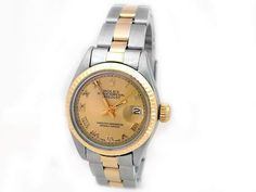 18k Yellow Gold and Stainless Stee. Champagne Roman Numeral Dial. #69173