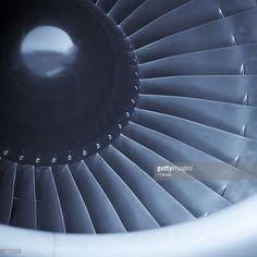 Stock Photo : Closeup shot of aircraft jet engine turbine