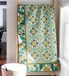 Sage & Sea Glass - Star Chain Quilt designed by Kim Diehl for Henry Glass Fabrics