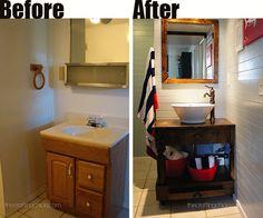 Before & After bathroom renovation - with custom vanity!  So cute!