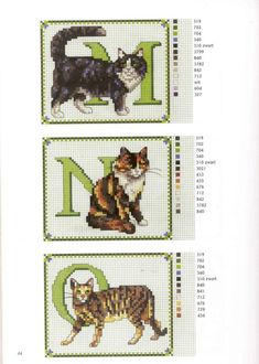 abc gatos M-O Cross Stitch Letters, Cross Stitch Boards, Cross Stitch Animals, Counted Cross Stitch Patterns, Cross Stitch Designs, Cross Stitch Embroidery, Modern Embroidery, Embroidery Patterns, Cat Pattern