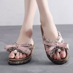 81adbe81a7 Bowknot Lace Decoration Sweet Clip Toe Summer Slippers