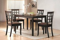 "5pcs Contemporary Espresso Finish Dining Table Set by Acme Furniture. $261.55. Dining and Kitchen. Some assembly may be required. Please see product details.. Dining and Kitchen->Dining Room Sets->Breakfast Table and Dinette Sets. 48""L 32""D 30""H. You will receive a total of 1 table and 4 chairs Table Dimension: 48""L 32""D 30""H Chair Dimension: 36""H Finish: Espresso Material: Wood 5pcs Contemporary Espresso Finish Dining Table Set Chairs feature cushioned seats. Simple Asse..."