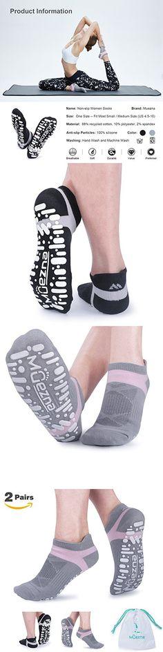 47095c31c Muezna Non Slip Yoga Socks for Women, Anti-Skid Pilates, Barre, Bikram  Fitness Socks with Grips, Size 5-10 (Black Gray)