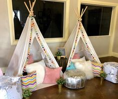 Upcountry Camp offers luxury tent and teepee rentals for parties, sleepovers and camping in and around Mississippi. Teepee Party, Teepee Tent, Teepees, Sleepover Birthday Parties, 10 Birthday, Canvas Teepee, A Frame Tent, Indoor Camping, Luxury Tents