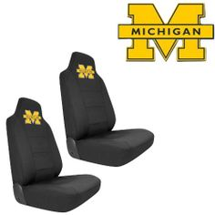 U-M University of Michigan Wolverines Car Truck SUV Universal-Fit Bucket Seat Covers - Pair Bright UMich Wolverines collegiate product. Seat covers install easily with attached elastic cords and included S hooks. Protects vehicle's carpet against spills, stains, dirt and any debris. Easy stretchable fits most high or low back bucket seats with built-in or adjustable headrests. Unit of measure ... #AutomotivePartsAndAccessories