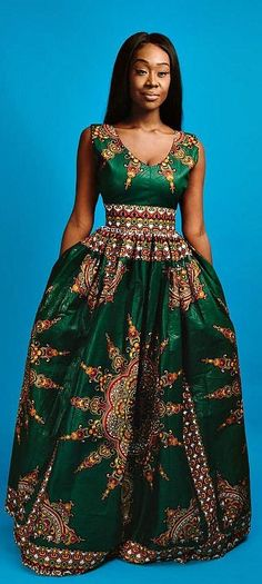AFRICAN PRINT OUTFITS the VICTORIA maxi (green). V neck African print maxi dress with 2 side pockets and back zip. Made with cotton high quality African print wax fabric and cotton lining. African Fashion Ankara, Ghanaian Fashion, African Inspired Fashion, African Print Dresses, African Print Fashion, Africa Fashion, Nigerian Fashion, African Prints, African Attire
