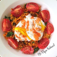 One of my favorite meals to make was gone in 0.2 seconds this morning lmao: Sweet potato hash with garlic and spinach, tomatoes with coconut vinegar-salt-&-pepper, and of course poached eggs  with red hot  ..,Freakin delicious. #KeepItSimple  https://www.facebook.com/TeamJERF