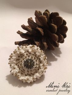 Excited to share the latest addition to my #etsy shop: White brooch with beads https://etsy.me/2IJdxHq #jewelry #brooch #white #steel #no #women #gold #floral #round