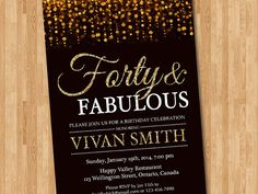 40th birthday invitation for women. Forty and fabulous. Gold Glitter Glam Birthday Invite.Any age. Printable digital DIY.