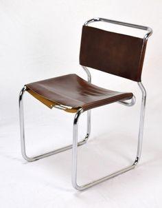 Mid-Century Modern Tubular Chrome Leather Sling Side Chair