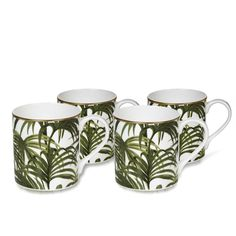 PALMERAL Set of 4 Mugs - White/ Green
