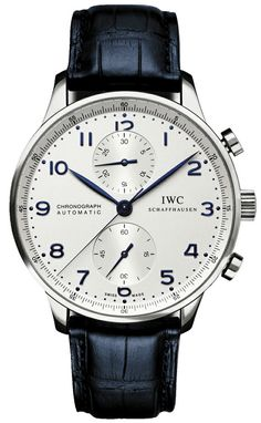 IW371446 NEW IWC PORTUGUESE CHRONOGRAPH AUTOMATIC MENS WATCH Usually ships within 8 weeks - FREE Overnight Shipping - NO SALES TAX (Outside California)- WITH MANUFACTURER SERIAL NUMBERS- Silver Dial- Chronograph Feature - Self Winding Automatic Movement- Calibre 79350 Movement - 44 Hour Power Reserve - 3 Year Warranty- Guaranteed Authentic - Certificate of Authenticity- Steel Case with Blue Leather Strap with Crocodile Pattern - Scratch Resistant Sapphire Crystal- Manufacturer Box