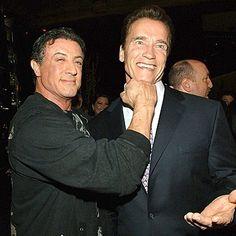 Arnold Schwarzenegger Sylvester Stallone with happy faces
