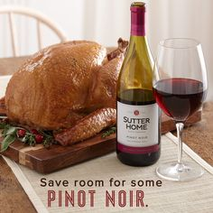 Sutter Home's rich, fruit-forward #PinotNoir pairs perfectly with #Thanksgiving classics like turkey, roasted vegetables, and mushroom stuffing.
