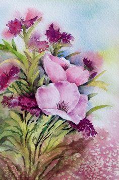 Garden flowers-- Watercolor on paper--Mahjabin GG