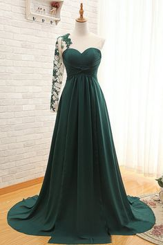 Forest Green Floor Length Chiffon Evening Dress Featuring Ruched Sweetheart Illusion Bodice with Lace Appliqués Sheer One Shoulder