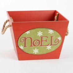 Red Wooden Noel Basket | Kirkland's