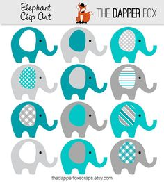 Teal and Grey Elephant Clip Art INSTANT by TheDapperFoxScraps