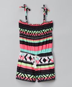 Another great find on #zulily! Pink & Black Geometric Romper - Infant, Toddler & Girls #zulilyfinds
