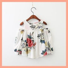 School Girls Blouse Shirts vintage floral Kids cotton shoulderless Blouses breathable Children tops 2-7y baby Clothes