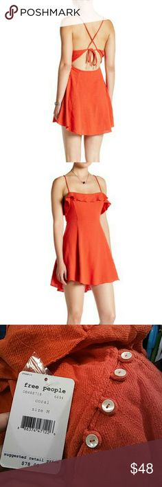 Free People Linen Dress - Make an offer! NWT Adorable shell embellishments on ends of ties in back // button up side Coral color perfect for spring! Free People Dresses Mini