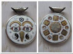Double sided Buddha Eyes or Wisdom Eyes pendant by MahsanAmoui
