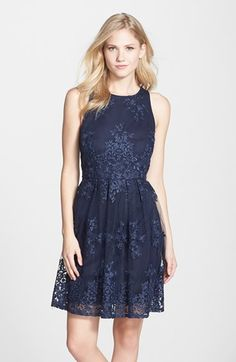 Taylor Dresses Embroidered Mesh Fit & Flare Dress available at #Nordstrom @Lozmonster