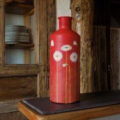 objet dco ancien maison soliflore peint la main coquelicots blancs fond rouge