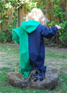 Looking for waterproof clothing? Save washing & time with Mud Mates all-in-one children's coveralls, you can trust them to keep kids clean & dry. NZ-made Kids Overalls, Messy Play, Wet Weather, Navy And Green, Awesome Stuff, Your Child, Mud, Color, Clothes