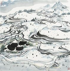 Wu Guanzhong (1919-2010) Terraced Fields Ink and colour on paper, mounted With two seals of the artist 66.5cm x 66cm (26¼in x 26in).   吳冠中 梯田風光 設色紙本 鏡心  鈐印:荼、冠中寫生